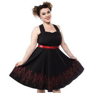 Sourpuss Flames Veronica Dress in Black